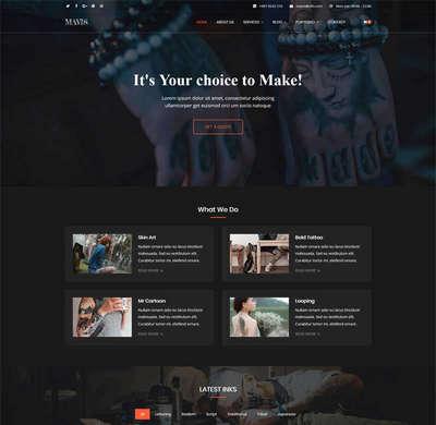 黑色专业纹身工作室html静态网站