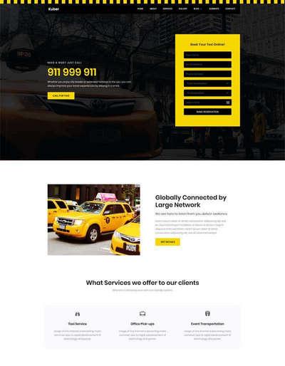 出租车服务公司html静态网站模板
