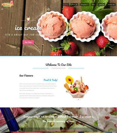 卡通冰淇淋甜品店静态html网站模