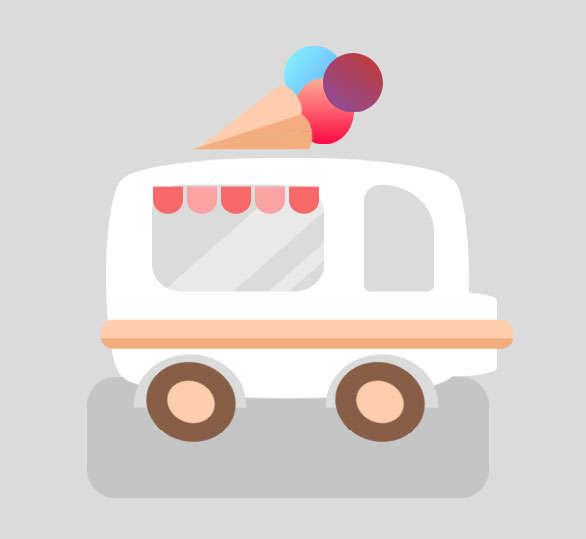卡通的冰淇淋汽车ui动画特效
