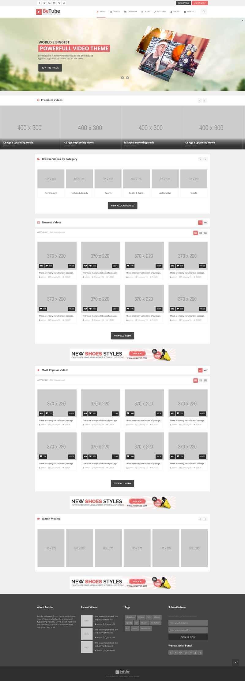 响应式的视频分享交流平台网站模板html整站