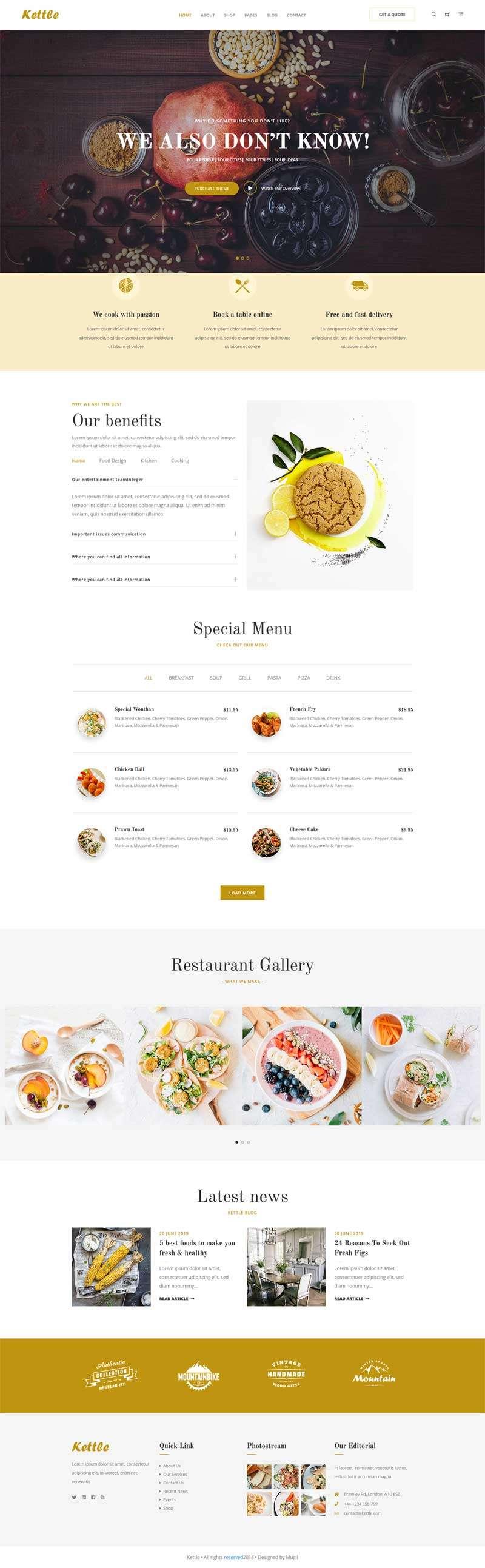 在线餐饮美食外卖预订bootstrap网站模板