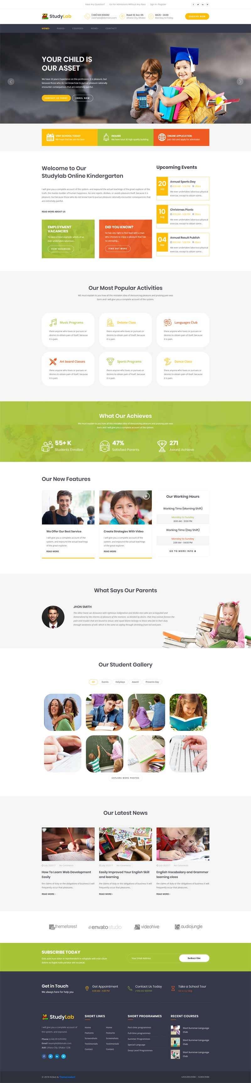 bootstrap小学生课程培训教育网站模板