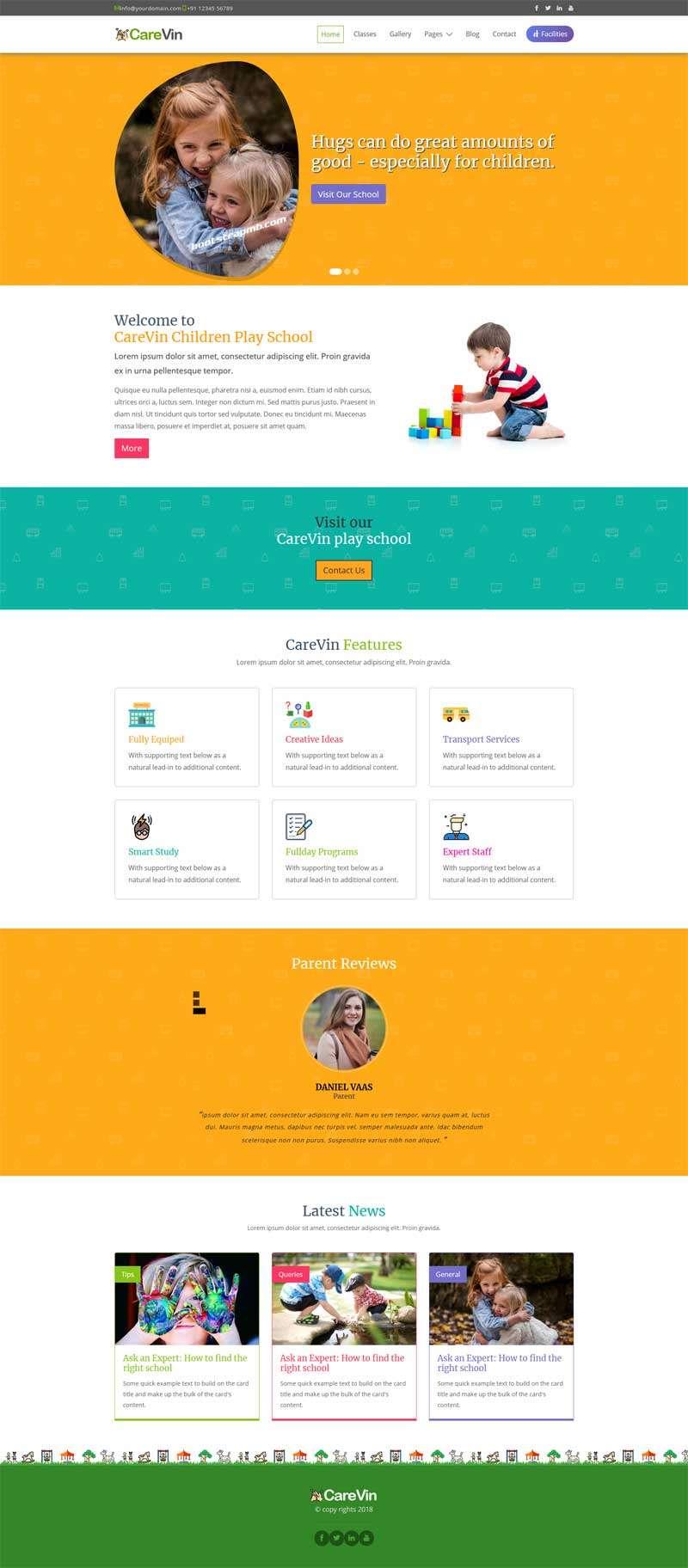 Bootstrap幼儿园学校网站模板