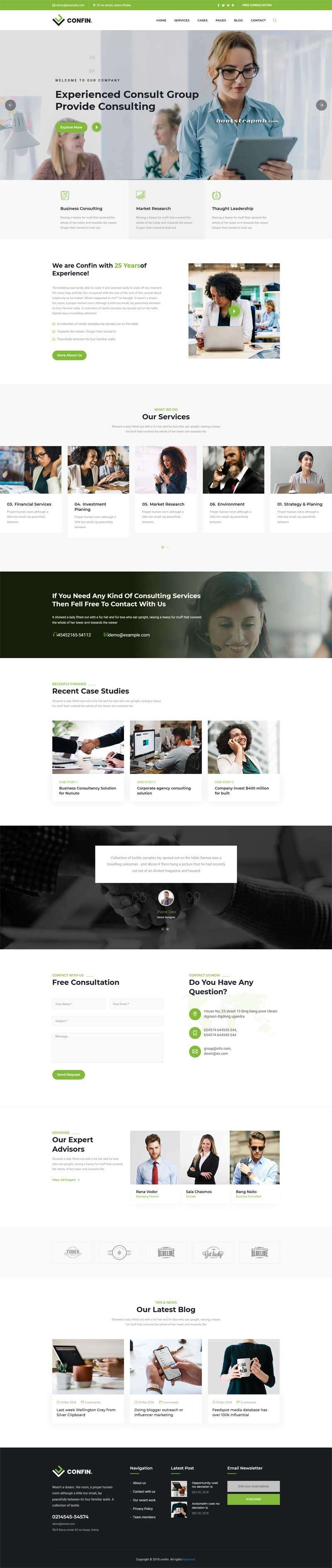 Bootstrap咨询管理公司网站模板