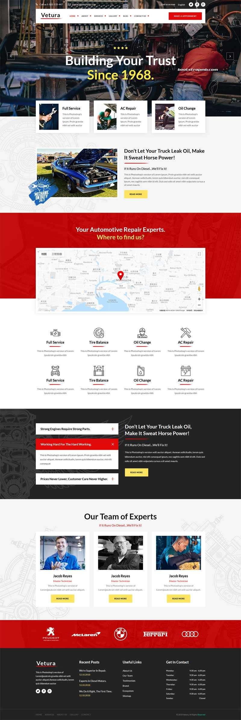 Bootstrap汽车修理店网站模板