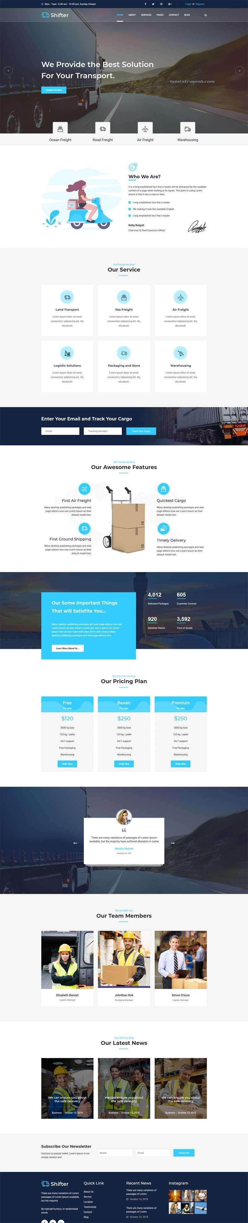 Bootstrap物流快递运输公司网站模板