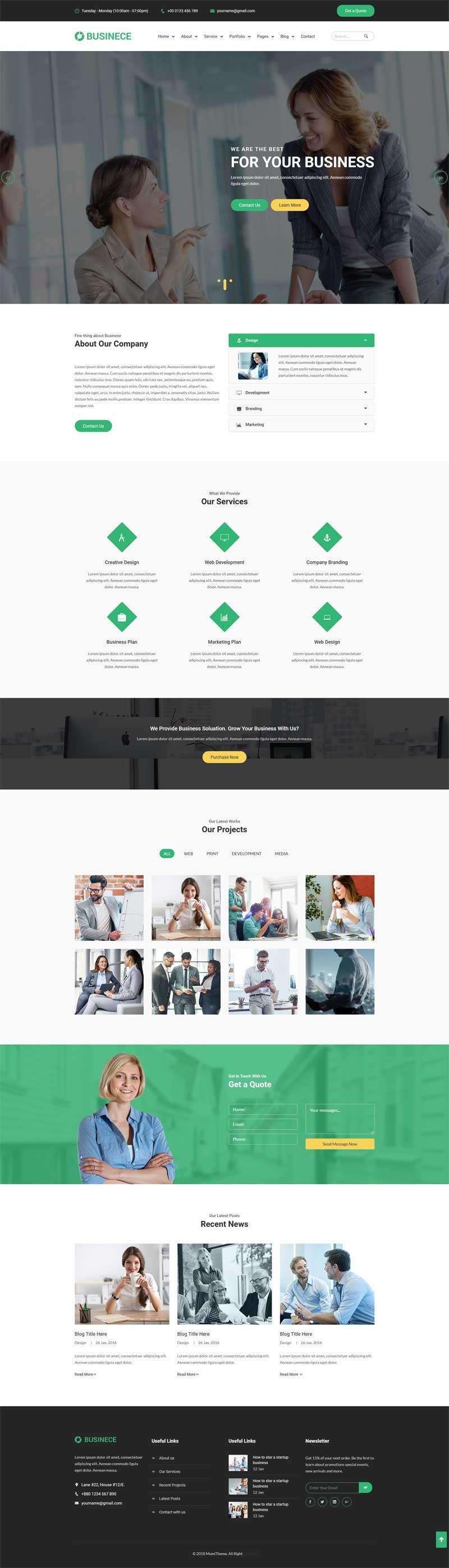 大气Bootstrap商业金融公司网站模板