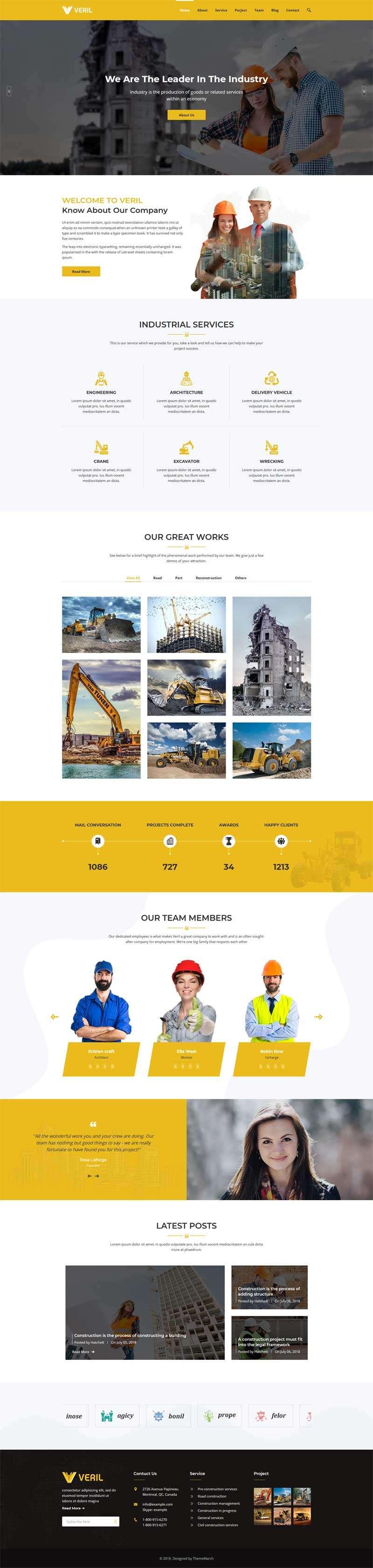 黄色的工业建筑公司官网bootstrap模板