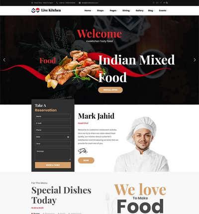 Bootstrap餐饮外卖预订html静态网站模板