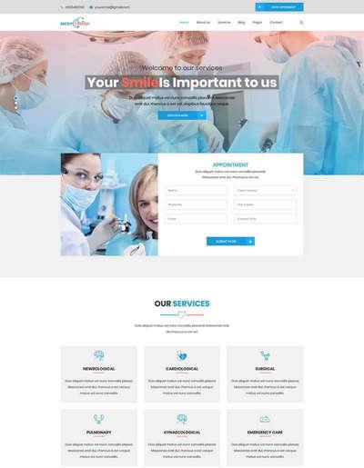 蓝色医院医疗卫生bootstrap网站模板