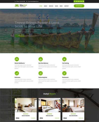旅游度假酒店网站bootstrap模板