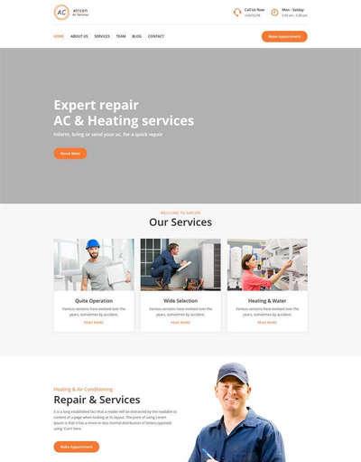 bootstrap空调安装维修服务公司HTML模板