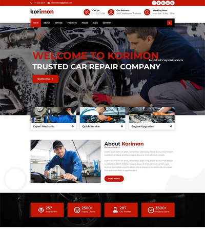 Bootstrap汽车维修4s店静态html网站模板