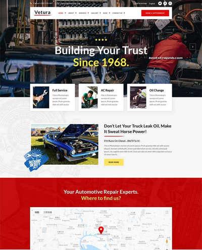 Bootstrap汽车修理店静态html网站模板