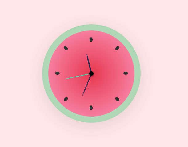 圆形的西瓜时钟ui特效