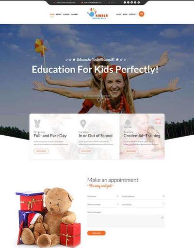 卡通风格幼儿园儿童教育网站html